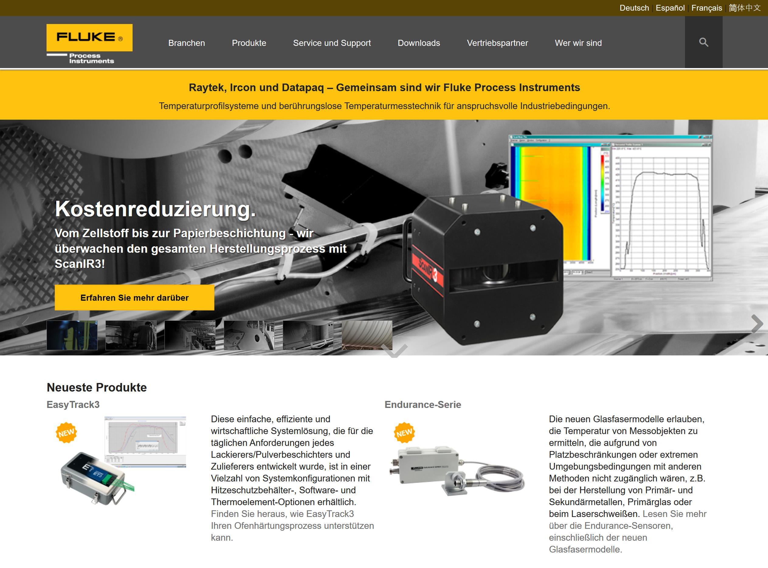 Neue Webseite für Fluke Process Instruments